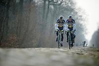 Paris-Roubaix 2013 RECON at Bois de Wallers-Arenberg..Björn Leukemans (BEL) & Kris Boeckmans (BEL)