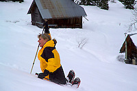 Jarsy, Massif des Bauges, Haute savoie, France, January 2006. Snowshoeing is the fastest growing alpine winter sport in Europe. The tiny village of Jarsy offers a great base for some spectacular hikes. Photo by Frits Meyst/Adventure4ever.com