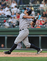 Catcher Gary Sanchez (35) of the Charleston RiverDogs, a New York Yankees affiliate, in a game against the Greenville Drive on June 21, 2012, at Fluor Field at the West End in Greenville, South Carolina. Charleston won, 2-1. Sanchez is the Yankees' No. 4 prospect, according to Baseball America. (Tom Priddy/Four Seam Images)