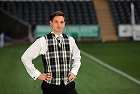 Pictured: Joe Allen with a welsh tartan outfit, at the Liberty Stadium, Swansea south Wales. Thursday 02 december 2011