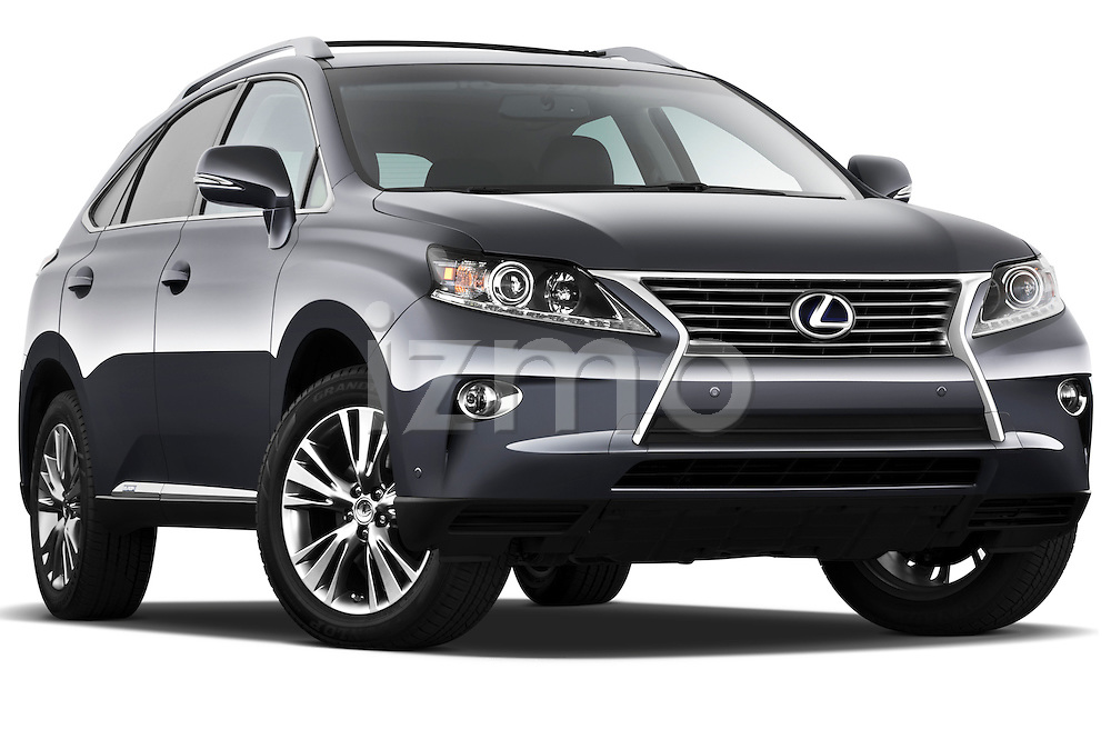 Low aggressive passenger side front three quarter view of a 2013 Lexus RX 450H