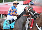 Stay Thirsty (no. 9), ridden by Javier Castellano and trained by Todd Pletcher, wins the 142nd running of the grade 1 Travers Stakes for three year olds on August 27, 2011 at Saratoga Race Track in Saratoga Springs, New York.  (Bob Mayberger/Eclipse Sportswire)