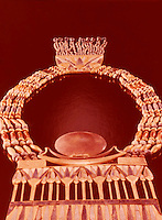 Egypt: Necklace with Lunar Pectoral--gold with gems.  Treasures of Tutankhamun, Cairo Museum.  MMA 1976.