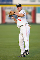 Thomas Steele (44) of the Tri-City ValleyCats warms up in the outfield at Joe Bruno Stadium in Troy, NY, Monday July 28, 2008  (Photo by Brian Westerholt / Four Seam Images)
