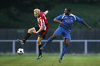 Alex Bentley of Hornchurch tangles with Ricky Sappleton of Bishop's Stortford - AFC Hornchurch vs Bishop's Stortford - FA Trophy 3rd Qualifying Round Football at The Stadium, Upminster Bridge, Essex - 10/11/12 - MANDATORY CREDIT: Gavin Ellis/TGSPHOTO - Self billing applies where appropriate - 0845 094 6026 - contact@tgsphoto.co.uk - NO UNPAID USE