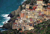 Overview of the quaint Italian Riviera coastal village of Manarola. Cinque Terre, Italy. Italian, European, coast, coastline, Mediterranean ocean, sea.