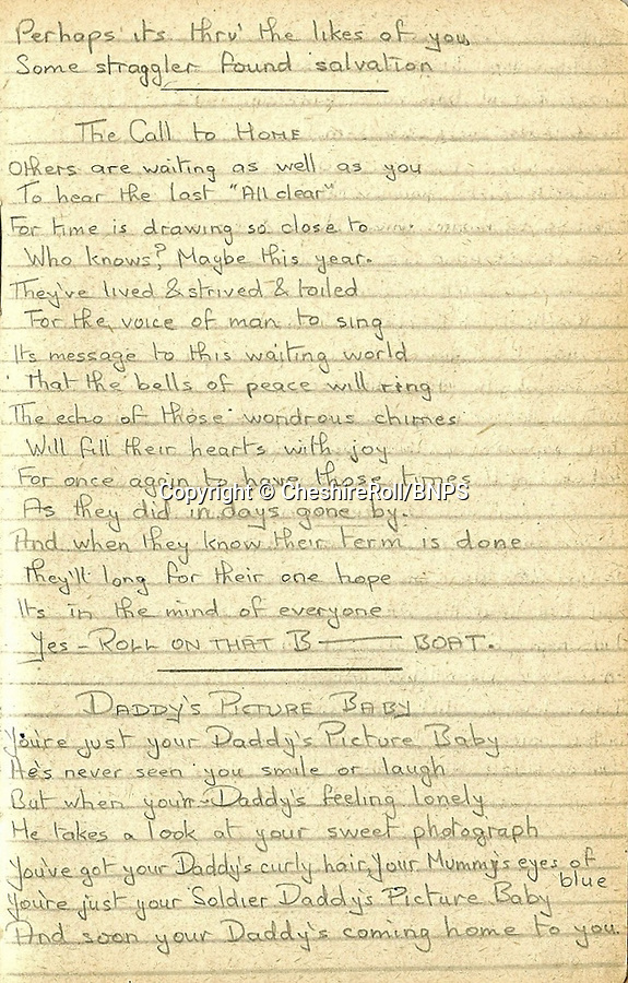 BNPS.co.uk (01202 558833)<br /> Pic CheshireRoll/BNPS<br /> <br /> PICTURED: The poetry written by Lance Corporal Frank Kenyon<br /> <br /> A poignant poem written by a British prisoner of war pining for the baby daughter he had never met has come to light 75 years later.<br /> <br /> Lance Corporal Frank Kenyon treasured a black and white photo of his newborn daughter June that his wife Doris sent to him while he languished in a German prison camp.<br /> <br /> It inspired him to turn to poetry to cope with being parted from his family during the two-and-a-half years he was a PoW for.