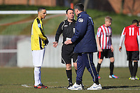 Hornchurch manager Jim McFarlane speaks to referee John Hopkins - AFC Hornchurch vs Bromley - Blue Square Conference South Football at The Stadium, Upminster Bridge, Essex - 01/04/13 - MANDATORY CREDIT: Gavin Ellis/TGSPHOTO - Self billing applies where appropriate - 0845 094 6026 - contact@tgsphoto.co.uk - NO UNPAID USE.