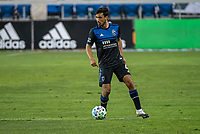 SAN JOSE, CA - OCTOBER 18: Oswaldo Alanis #4 of the San Jose Earthquakes dribbles the ball during a game between Seattle Sounders FC and San Jose Earthquakes at Earthquakes Stadium on October 18, 2020 in San Jose, California.