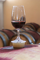 silicone bung on barrel with glass dom g robin crozes hermitage rhone france