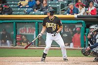 Charlie Cutler (37) of the Salt Lake Bees at bat against the Tacoma Rainiers in Pacific Coast League action at Smith's Ballpark on May 7, 2015 in Salt Lake City, Utah.  (Stephen Smith/Four Seam Images)