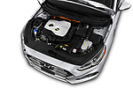 Car stock 2018 Hyundai Sonata Hybrid Limited 4 Door Sedan engine high angle detail view