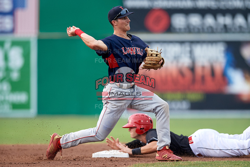 Lowell Spinners second baseman Jarren Duran (44) throws to first base attempting to turn a double play after forcing out Bubba Hollins (24) sliding in during a game against the Batavia Muckdogs on July 16, 2018 at Dwyer Stadium in Batavia, New York.  Lowell defeated Batavia 4-3.  (Mike Janes/Four Seam Images)
