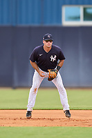 FCL Yankees first baseman Alex Guerrero (63) during a game against the FCL Blue Jays on June 29, 2021 at the Yankees Minor League Complex in Tampa, Florida.  (Mike Janes/Four Seam Images)