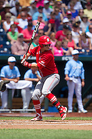 North Carolina State Wolfpack third baseman Grant Clyde #22 bats during Game 3 of the 2013 Men's College World Series between the North Carolina State Wolfpack and North Carolina Tar Heels at TD Ameritrade Park on June 16, 2013 in Omaha, Nebraska. The Wolfpack defeated the Tar Heels 8-1. (Brace Hemmelgarn/Four Seam Images)