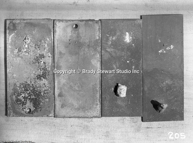 Pittsburgh PA:  View of steel plate defects encountered during fabrication - 1932. Sorry, but we will need a metallurgist to provide a detailed analysis of the image!