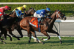 ARCADIA, CA  OCT 3: #7 Mo Forza, ridden by Flavien Prat, makes his move in the stretch on his way to winning the City of Hope Mile Stakes (Grade ll) on October 3, 2020 at Santa Anita Park in Arcadia, CA. .(Photo by Casey Phillips/Eclipse Sportswire/CSM.)