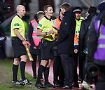 29.02.2020 Hearts v Rangers: Steven Gerrard with ref Steven McLean at half time