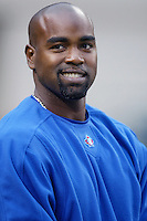 Carlos Delgado of the Toronto Blue Jays before a 2002 MLB season game against the Los Angeles Angels at Angel Stadium, in Anaheim, California. (Larry Goren/Four Seam Images)