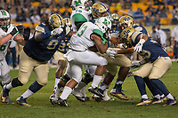 Pitt nose tackle Tyrique Jarrett (6) tackles Marshall running back Tony Pittman. The Pitt Panthers defeated the Marshall Thundering Herd 43-27 on October 1, 2016 at Heinz Field in Pittsburgh, Pennsylvania.