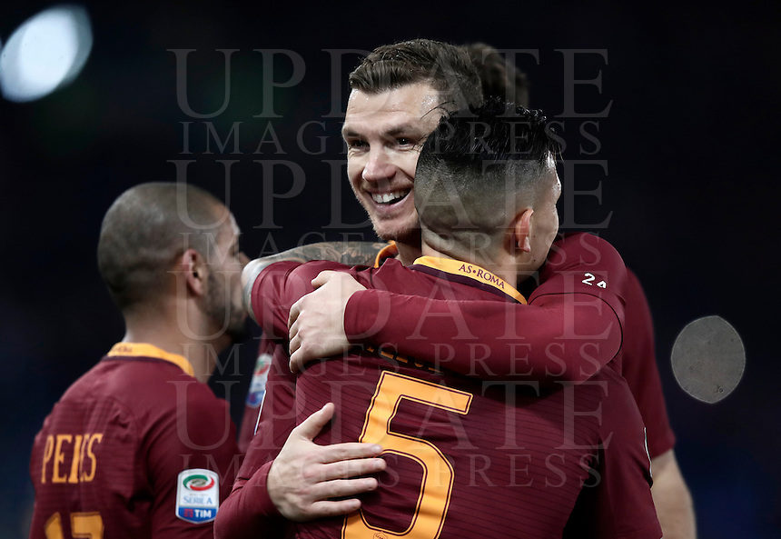 Calcio, Serie A: Roma, stadio Olimpico, 19 febbraio 2017.<br /> Roma's Leandro Paredes celebrates with his teammate Edin Dzeko after scoring during the Italian Serie A football match between As Roma and Torino at Rome's Olympic stadium, on February 19, 2017.<br /> UPDATE IMAGES PRESS/Isabella Bonotto