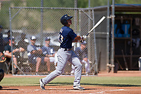 Brent Diaz (43) of the Milwaukee Brewers follows through on his swing during an Instructional League game against the San Diego Padres on September 27, 2017 at Peoria Sports Complex in Peoria, Arizona. (Zachary Lucy/Four Seam Images)