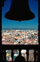 .The belltower of the Great Mosque in Cordoba, southern Spain, with the roofs of the town spread out below...
