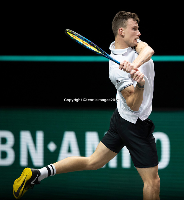 Rotterdam, The Netherlands, 6 march  2021, ABNAMRO World Tennis Tournament, Ahoy,  <br /> Semi final: Marton Fucsovics (HUN).  Photo: www.tennisimages.com/
