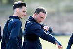 St Johnstone Training…29.03.19<br />Chris Kane pictured during training this morning at McDiarmid Park with Scott Tanser ahead of tomorrow's trip to Motherwell.<br />Copyright Perthshire Picture Agency<br />Tel: 01738 623350  Mobile: 07990 594431