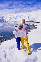 Touring couple makes a post card from Prospect Point, Antarctica