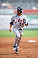 Detroit Tigers shortstop Mike Aviles (14) running the bases during a Spring Training game against the New York Yankees on March 2, 2016 at George M. Steinbrenner Field in Tampa, Florida.  New York defeated Detroit 10-9.  (Mike Janes/Four Seam Images)