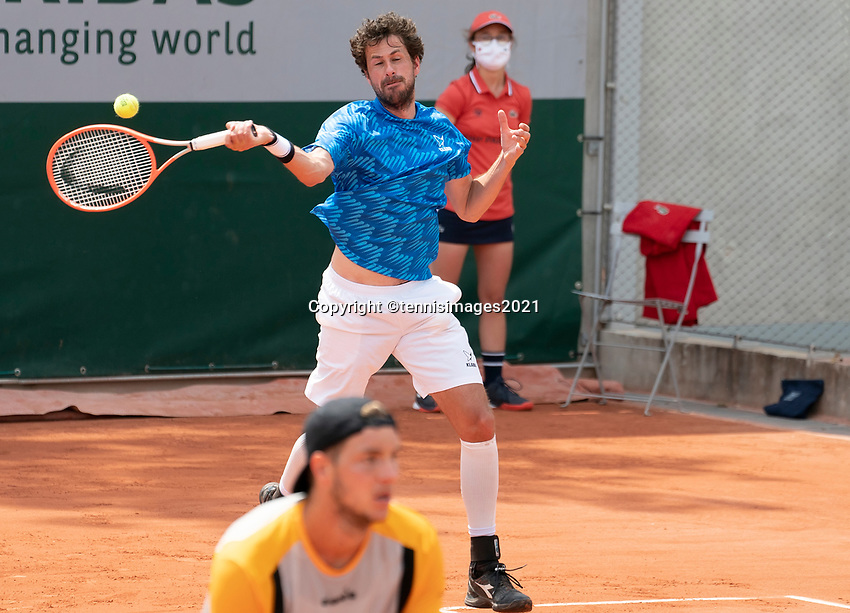 Paris, France, 1 june 2021, Tennis, French Open, Roland Garros, First round doubles match: Robin  Haase (NED) and  Jan-Lennard Struff (GER)<br /> Photo: tennisimages.com