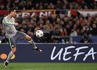 Calcio, andata degli ottavi di finale di Champions League: Roma vs Real Madrid. Roma, stadio Olimpico, 17 febbraio 2016.<br /> Real Madrid's Cristiano Ronaldo kicks the ball during the first leg round of 16 Champions League football match between Roma and Real Madrid, at Rome's Olympic stadium, 17 February 2016.<br /> UPDATE IMAGES PRESS/Isabella Bonotto
