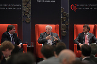 """Montreal (Qc) CANADA - June 4 2013 - Canadian Club  PANEL """"Leadership challenges in family businesses"""" featuring<br /> Andrew Molson, Vice-Chairman of the Board - Molson Coors Brewing Company<br /> Chairman - RES PUBLICA Consulting Group (L),  Alain Lemaire<br /> Executive Chairman of the Board - Cascades Inc.  (M) and Stephen R. Bronfman<br /> Executive Chairman - Claridge Inc.<br /> <br /> PHOTO :  Agence Quebec Presse"""