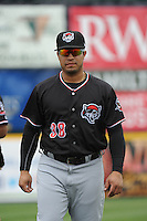 Erie Sea Wolves catcher Ramon Cabera (38) during game against the Trenton Thunder at ARM & HAMMER Park on May 15, 2014 in Trenton, NJ.  Erie defeated Trenton 4-2.  (Tomasso DeRosa/Four Seam Images)