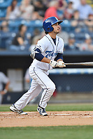 Asheville Tourists shortstop Terrin Vavra (6) swings at a pitch during a game against the Hagerstown Suns at McCormick Field on April 30, 2019 in Asheville, North Carolina. The Tourists defeated the Suns 5-4. (Tony Farlow/Four Seam Images)