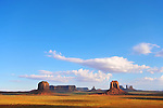 View of Monument Valley from Artist's Point.  Merrick's Butte (L) and East Mitten Butte (R) in the foreground.