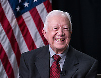 Former President Jimmy Carter shown during a Google Hangout session held during the LBJ Presidential Library Civil Rights Summit on Tuesday, April 8, 2014, in Austin, Texas. <br /> <br /> Photo by Lauren Gerson.