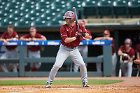 Jake Alu (1) of the Boston College Eagles at bat against the North Carolina State Wolfpack in Game Two of the 2017 ACC Baseball Championship at Louisville Slugger Field on May 23, 2017 in Louisville, Kentucky. The Wolfpack defeated the Eagles 6-1. (Brian Westerholt/Four Seam Images)