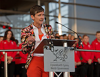 Sport Wales chair Professor Laura McAllister speaks at the Commonwealth Games Homecoming Ceremony for Team Wales at the Senedd, Cardiff Bay, Wales, United Kingdom. 10th September 2014.