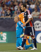 New England Revolution goalkeeper Matt Reis (1) fails to punch out a cross and Houston scored. In a Major League Soccer (MLS) match, the New England Revolution tied Houston Dynamo, 2-2, at Gillette Stadium on May 19, 2012.
