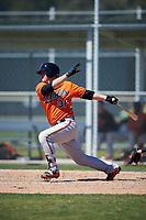 Baltimore Orioles Steve Laurino (31) follows through on a swing during a minor league Spring Training game against the Minnesota Twins on March 17, 2017 at the Buck O'Neil Baseball Complex in Sarasota, Florida.  (Mike Janes/Four Seam Images)