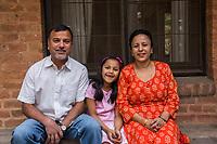 Nepal, Kathmandu. Som, Sajani & family.