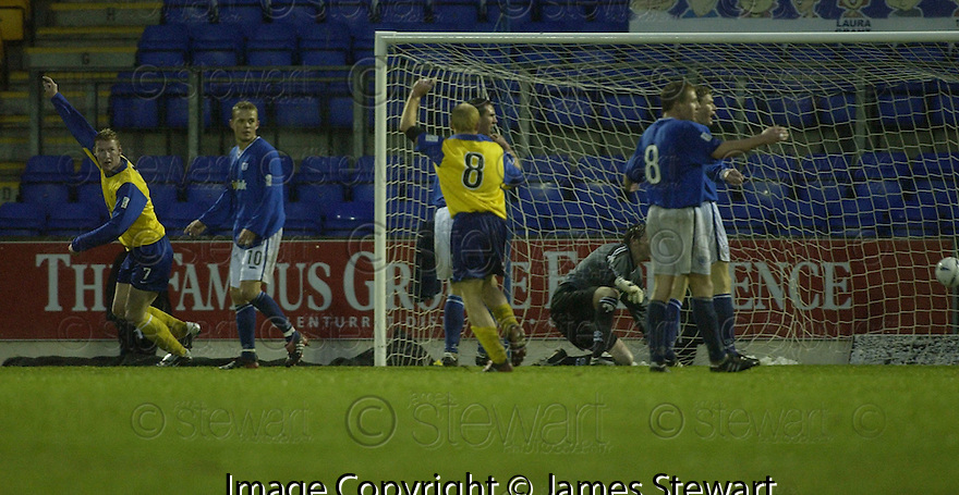20/12/03          Copyright Pic : James Stewart.File Name : stewart03-stjohn_v_qos.SEAN O'CONNOR (LEFT) CELEBRATES AFTER SCORING THE FIRST FOR QOS.... .Payment should be made to :-.James Stewart Photo Agency, 19 Carronlea Drive, Falkirk. FK2 8DN      Vat Reg No. 607 6932 25.Office     : +44 (0)1324 570906     .Mobile  : +44 (0)7721 416997.Fax         :  +44 (0)1324 570906.E-mail  :  jim@jspa.co.uk.If you require further information then contact Jim Stewart on any of the numbers above.........