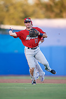 Fort Myers Miracle third baseman Joe Cronin (17) throws to first base during a game against the Dunedin Blue Jays on April 17, 2018 at Dunedin Stadium in Dunedin, Florida.  Dunedin defeated Fort Myers 5-2.  (Mike Janes/Four Seam Images)