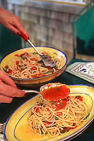 Spaghetti recipe fresh sauce made with home grown tomatoes and basil, Michele Anna Jordon