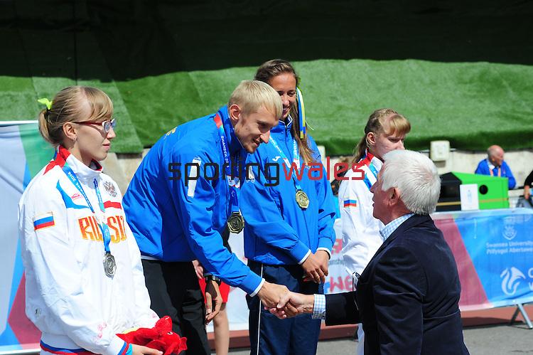 IPC European Athletics Championship 2014<br /> Swansea University<br /> <br /> Medal ceremony: Women's 400m T12.<br /> Gold medal: Oxana Boturchuk (UKR) <br /> guide Oleksiy Ryemyen<br /> Silver medal: Anna Sorokina (RUS)<br /> Bronze medal: Veronika Zotova (RUS)<br /> <br /> 23.08.14<br /> Chris Vaughan-SPORTINGWALES