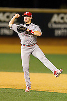 North Carolina State Wolfpack second baseman Logan Ratledge (6) makes a throw to first base against the Wake Forest Demon Deacons at Wake Forest Baseball Park on March 15, 2013 in Winston-Salem, North Carolina.  The Wolfpack defeated the Demon Deacons 12-6.  (Brian Westerholt/Four Seam Images)