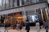 Shoppers at the recently opened flagship store of Gucci in Ginza, Tokyo. The Paris-based company spent six years scouting locations and spent an undisclosed amount to build the 3,283-square-meter (35,338 square feet) flagship store in the fashionable Ginza district. Japan is the biggest Gucci market in the world..