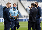 St Johnstone v Hibs…22.05.21  Scottish Cup Final Hampden Park<br />Saints players Liam Craig, Stevie May and David Wotherspoon talk with Drey Wright on the pitch shortly after arriving at Hamden Park<br />Picture by Graeme Hart.<br />Copyright Perthshire Picture Agency<br />Tel: 01738 623350  Mobile: 07990 594431